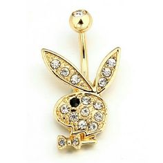 Belly Ring Super Sexy 14kt Yellow Gold Plated Over Surgical Steel Playboy Bunny Belly Ring Adorned With Clear AAA CZ Crystals. Authentic Playboy Jewelry! High Quality! Comes To You In A Pretty Black Velvet Pouch. Fast Shipping! Playboy Jewelry Rings