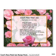 Carol's Rose Petal Jam Recipe Postcard #collect #recipes