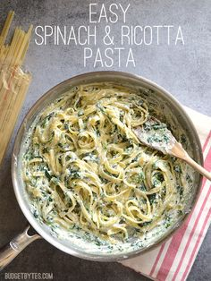 This quick and luxurious Spinach Ricotta Pasta boasts a creamy and garlicky spinach sauce made easy with ricotta cheese. Step by step photos. Easy Spinach Ricotta Pasta by Budget Bytes I Love Food, Italian Recipes, Canadian Recipes, French Recipes, Italian Desserts, Healthy Eating, Cooking Recipes, Cooking Cake, Cooking Oil