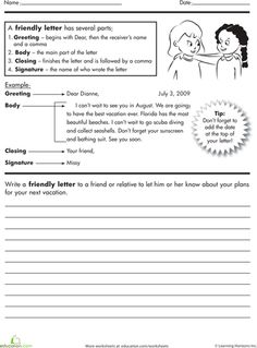 Parts Of A Friendly Letter Worksheet  Second Grade Writing