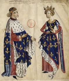 Isabella of Valois Duchess of Bourbon (1313-1383),daughter of the founder of the Valois dynasty Charles Count of Valois,and her husband Peter I Duke of Bourbon from a XVth c.illustration