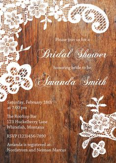 Vintage Rustic Elegant Wood Lace Western Country Bridal Baby Shower Birthday Invitation DIY printable on Etsy, $20.00