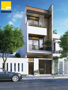 3 Storey House on small lot 3 Storey House Design, Duplex House Design, Townhouse Designs, House Front Design, Small House Design, Modern House Design, Plan Ville, Narrow House Designs, Casas Containers