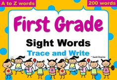 First Grade sight Words Trace and write has 200 words in totalEach sheet has 6 words to read, trace and write plus cute pictures to color.Great to introduce sight wordsGreat for early finishers Great for improving handwriting too. First Grade Sight Words, Printable Worksheets, Printables, Early Finishers, Grade 1, Handwriting, Distance, Cute Pictures, Prepping