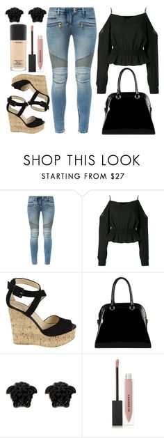 """Balmain Jeans"" by wolfiexo ❤ liked on Polyvore featuring Balmain, Giuseppe Zanotti, Diophy, Versace, Burberry and MAC Cosmetics"