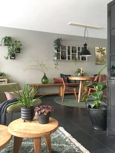 Look inside Elske - My Simply Special - living room / green sofa / wood / plants / urban / gray / black / interior / inspiration / design / - Living Room Green, Living Room Colors, Room Decor Bedroom, Interior Design Living Room, Living Room Designs, Living Room Decor, Deco Studio, Green Sofa, Wood Sofa