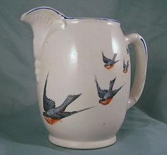1900s Lg Buffalo Pottery China Antique Bluebird Milk ...