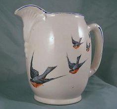 1900s Lg Buffalo Pottery China Antique Bluebird Milk ...