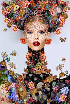 by Tina Cassati Art And Illustration, Portrait Art, Portraits, Face Art, Art World, Art Inspo, Fashion Art, Floral Fashion, Pop Art