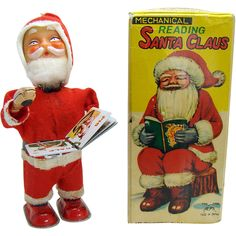 Alps Santa Claus Mechanical Book Reading Wind-up Toy Mint in Box - 1950's