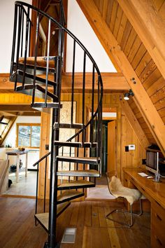 Desanka's Visionary Lux Lodge @lux_eros www.lux-eros.com #luxlodge #luxeros spiral stairs, aframe, home office, bohemian decor