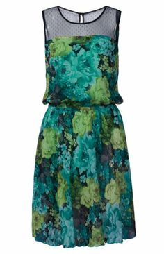 Green Sleeveless Contrast Sheer Shoulder Floral Print Dress pictures