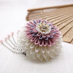 和 つまみ細工 かんざし「月蝶花 ピンク」 髪飾り/簪/ヘアアクセサリー