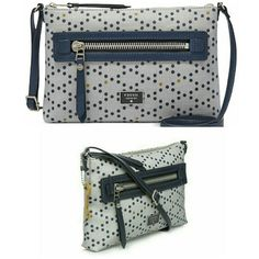 """Fossil Dawson Canvas Crossbody Adjustable crossbody strap with 14-inch strap Zipper closure Exterior features nickel tone hardware and 1 Front zip pocket Interior features 1 zip pocket 10 1/2 """" W  x 7 1/2 H x 1 1/2 D Fossil Bags Crossbody Bags"""