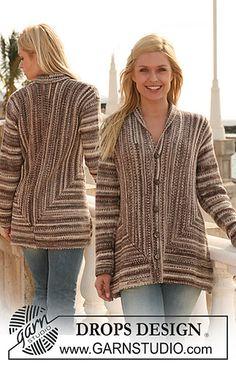Ravelry: 113-8 Jacket knitted sideways in garter st pattern by DROPS design