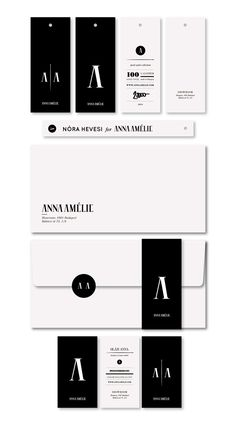 The branding for Anna Amélie was created with classical luxury brands in mind / black and white / stationary / brand identity