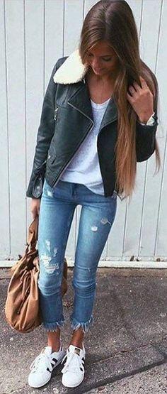 #winter #fashion /  Black Leather Jacket + Grey Top
