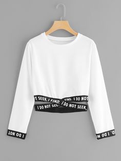 Shein Criss Cross Hem Sweatshirt is part of Hem sweatshirt - Summer Sweatshirts, size features areLength Crop,Sleeve Length Long Sleeve, Girls Fashion Clothes, Teen Fashion Outfits, Outfits For Teens, Clothes For Women, Emo Fashion, Korean Fashion, Girl Fashion, Fashion Casual, Fashion Dresses