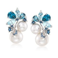 """Ross-Simons - 6-8.5mm Cultured Pearl and 2.00 ct. t.w. Blue Topaz With Sapphire Earrings in Sterling Silver. 5/8"""" - #842575"""