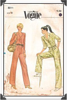 VOGUE Pattern 8011 - Misses Very Easy Front-Button Jumpsuit Romper - Sz 8 B31.5 - Vintage 1980s. $5.00, via Etsy.