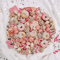 a pretty platter of pink sweets Dessert Platter, Crudite Platter, Baby Girl Christening Cake, 21st Bday Ideas, Pink Sweets, Party Food Platters, Charcuterie And Cheese Board, Cream Candy, Valentines Day Food