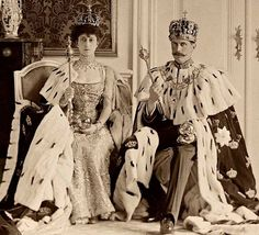 Queen Maud of Wales and Haakon VII of Norway with Royal Regalia of Norway