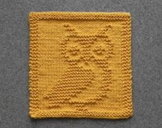 Knit Dishcloth OWL - Hand Knitted Unique Design - Gold 100% Cotton Dish Cloth or Wash Cloth - Shower Hostess Gift, Mountain Lodge Decor