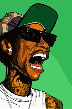 By Will Prince, we adore this art piece of Wiz Khalifa. He is very popular in the hip-hop culture. Art And Illustration, Graffiti Art, Cartoon Kunst, Dope Cartoon Art, Art Pop, Dope Kunst, Arte Do Hip Hop, Sketch Manga, Trill Art