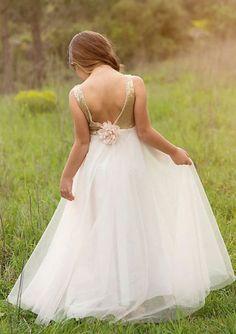 Pretty Sequined Straps Bodice Tulle Long Junior Bridesmaid Dresses