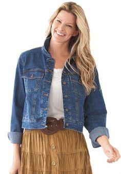 Plus Size Jacket, Cropped Length, Stretch Denim And Twill (Stonewash,14 W)