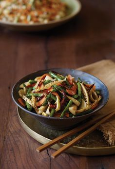 Bamboo Shoot, Mushroom, and Long Bean Stir-Fry Recipe Edamame, Vegetarian Times, Vegetarian Recipes, Vegan Recipes Videos, Cooking Recipes, Easy Recipes, Stir Fry Long Beans, Bamboo Recipe, Broccoli