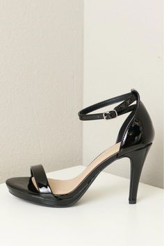 379eed49296855 Ankle Strap Low Heel Patent Black  StilettoHeels Ankle Strap Heels