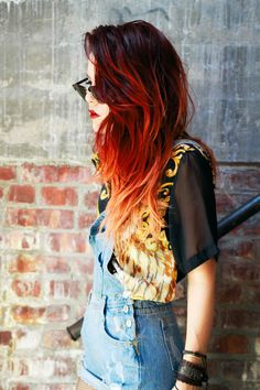 FIRE hair - use red chalk on ombré hair for carnival ?