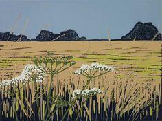 Grasses and Parsley - linocut - Alexandra Buckle, U.K.