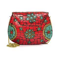 Bolsa Clutch Mosaico Vermelha