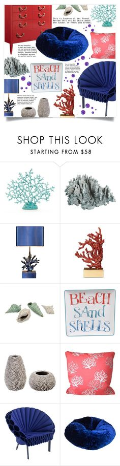 """""""Coral and Sea Shells"""" by captainsilly ❤ liked on Polyvore featuring interior, interiors, interior design, home, home decor, interior decorating, L'Objet, IMAX Corporation, Certified International and Ace Bayou"""