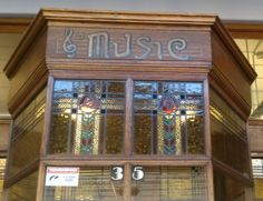 "Original  music shop frontage detail, Hastings Street Napier, NZ,  now called ""Music Machine"""