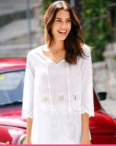 Hvit tunika med snøring fra KLiNGEL Tunic Tops, Women, Fashion, Tunics, Moda, Women's, Fashion Styles, Woman, Fasion