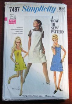 "1960s Sundress or Jumper and Blouse sewing pattern Simplicity 7497 Size 12 Bust 34"" by retroactivefuture on Etsy"
