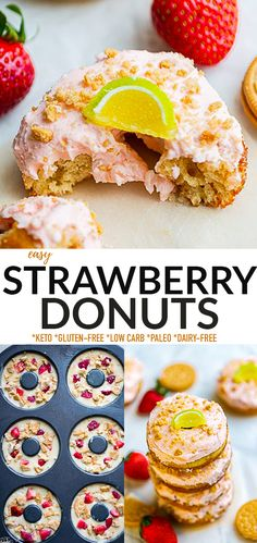 These Strawberry Donuts are soft, fluffy and made with almond flour, strawberries and topped with a sweet dairy-free strawberry buttercream. This healthy baked donut recipe is perfect for breakfast, an afternoon treat or even dessert. Grain-free, paleo-friendly, dairy-free, gluten-free with keto sweetener options.