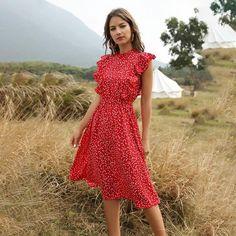 Chiffon Dress Long, Ruffle Dress, Boho Dress, Dress Red, Ruffles, Red Dress Casual, Red Chiffon, Print Chiffon, Casual Dresses For Women