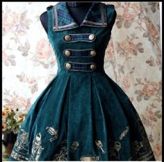 dress steampunk blue dress green dress steampunk clothing