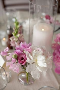 style me pretty – reception decor – table decor – centerpiece – peonies - candle - cylinder vase