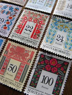 vintage folk postage stamps -Hungary - folk patterns  - 16 different