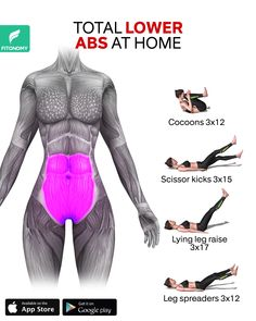 TOTAL LOWER ABS AT HOME - After removing lower belly fat the next goal is to target those six-pack abs. Here's an effective - Fitness Workouts, Gym Workout Videos, Gym Workout For Beginners, Abs Workout Routines, Fitness Workout For Women, At Home Workouts, Morning Ab Workouts, Bike Workouts, Swimming Workouts
