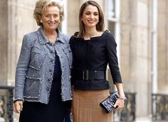 Queen Rania's Style Just Keeps Getting Better ....With Bernadette Chirac, then First Lady of France, at the Elysee Palace on October 1, 2003 in Paris
