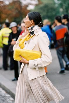 I will wear my winter white pleated skirt with a blazer, a cool spring scarf for a pop of fun !!!!