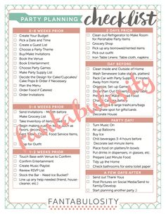 free printable party checklist party ideas pinterest birthday