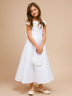 Classic A-line Satin Communion Dress - LDS Baptism Gowns for Girls
