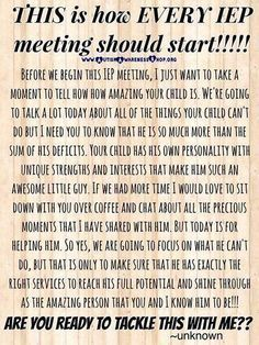I love this post as it shows how a teacher should deal with IEP meetings. This shows that IEP students are more than their disability. Teacher Tools, Teacher Resources, Resource Teacher, Teaching Special Education, Special Education Quotes, Gifted Education, Kids Education, Physical Education, Intervention Specialist